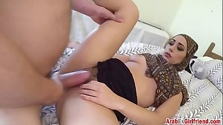 Arab hottie takes pulsating cock in hairy pussy